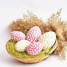 Dekorácie - AKCIA 20% Veľkonočné vajíčka - ružové + krémové - 7955306_