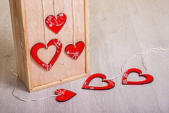 Dekorácie - Andreas: Srdiečko drevené červené - 7958070_