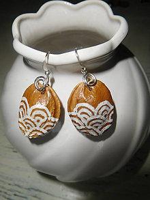 Náušnice - náušnice marhuľový biely ornament - 7954829_