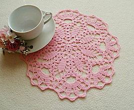 Úžitkový textil - Ružová háčkovaná dečka - 7955695_