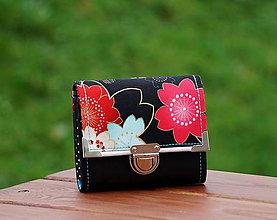 Peňaženky - Peněženka kytka 13x10cm, 8 karet, na fotky - 7955914_