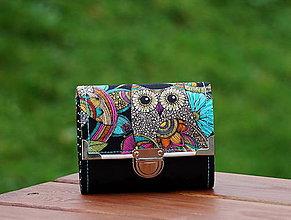 Peňaženky - Peněženka Sova 13x10cm, 8 karet, na fotky - 7955936_