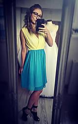 Šaty - Koktejlové dvojfarebné šaty rôzne farby - 7955087_