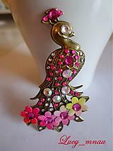 Odznaky/Brošne - Brošnička Páv kvetinový-ružovožltý :) - 7954583_