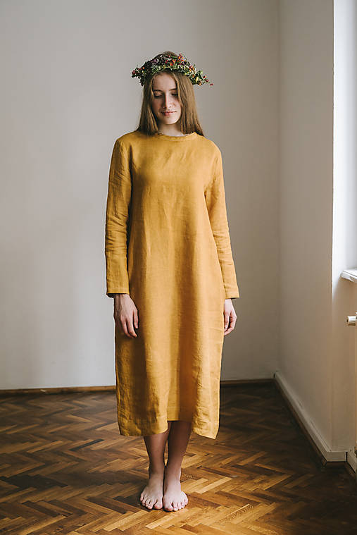 Šaty - linen dyed dress for her - 7955320_