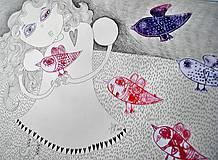 Kresby - dievčatko a vtáčiky - 7957700_
