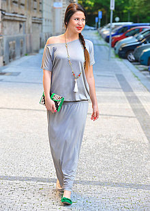 Šaty - Athena - dlhé pohodlné šaty - šedé - 7955675_