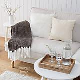 Úžitkový textil - Pletená deka so strapcami ... šedo-hnedá - 7960280_