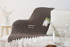 Úžitkový textil - Pletená deka so strapcami ... šedo-hnedá - 7960315_