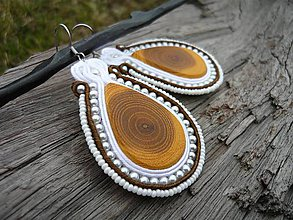 Náušnice - Soutache náušnice Wood Love - 7960516_