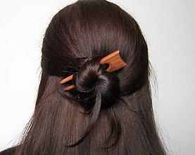 Ozdoby do vlasov - Drevená minispona do vlasov - 7962362_