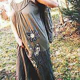 Šaty - Šaty khaki kvet - 7958766_