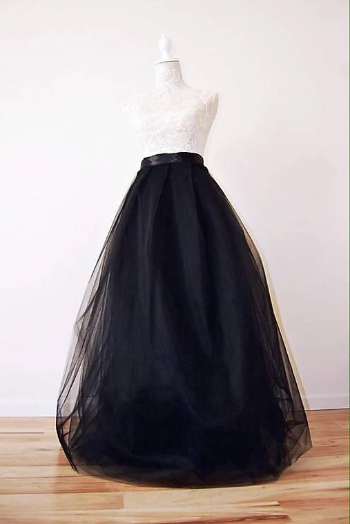 02d331a16cd1 Tylová sukňa dlhá čierna   TinyThea - SAShE.sk - Handmade Sukne