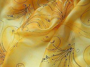 Šály - Žlutá - hedvábná šála 35x130cm - 7961585_