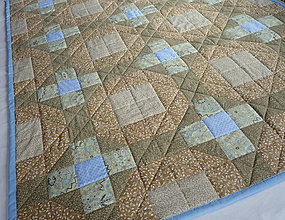 Úžitkový textil - Patchworková deka bežová s modrou - 7961237_