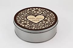 Krabičky - Plechová krabička okrúhla ornament srdce 1 - 7963218_