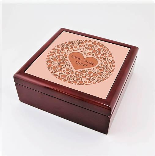 Krabička aj na šperky drevená ornament srdce