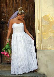 Šaty - Svadobné čipkové šaty - 7963574_
