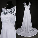 Šaty - Svadobné šaty z tylovej krajky so širokým pásom a kruhovou sukňou - 7959696_