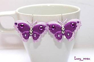 Náušnice - Náušničky motýliky-fialové :) - 7962503_