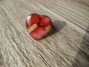Prstene - Srdiečko prsteň (Srdiečko zlato - kávovo - červené....prsteň č.814) - 7961276_