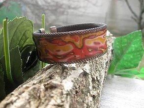 Náramky - Hrubý mozaikový náramok cuff (Mosadzný náramok zlato - kávovo - červený č.815) - 7961454_