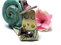 Dekorácie - slimák tyrkysový ružový  - 7959694_