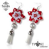 Náušnice: Kvety so strapcom (Bodkované červené s brúseným sklom)