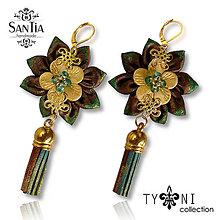 Náušnice - Náušnice: Kvety so strapcom (Hnedo-zeleno-zlaté) - 7963598_
