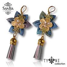 Náušnice - Náušnice: Kvety so strapcom (Ružovo-modro-zlaté) - 7963601_
