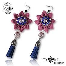 Náušnice - Náušnice: Kvety so strapcom (Ružovo-modré) - 7963608_
