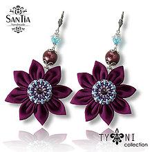 Náušnice - Náušnice obojstranné s visiacimi kvetmi (Swarovski fialovo-modré) - 7963615_