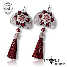Náušnice - Náušnice: Kvety s dlhými strapcami (Russian style červeno-biele) - 7963616_
