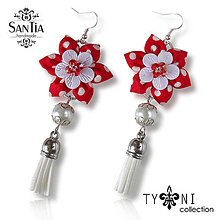 Náušnice - Náušnice: Kvety so strapcom (Bodkované červené s brúseným sklom) - 7963617_