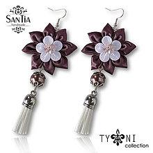 Náušnice - Náušnice: Kvety so strapcom (Hnedo-bielo-ružové) - 7963618_