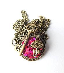 Náhrdelníky - Živicový náhrdelník Alica sýto ružový - 7964048_