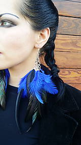 - Naušnice - čierno - modré - 7967218_