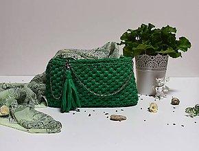 Kabelky - Recy kabelka Elegant smaragdovo zelená - 7967179_
