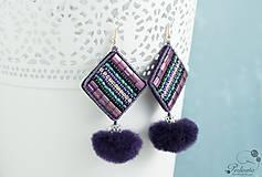 Náušnice - Purple Mink - vyšívané náušnice O.O.A.K. - 7965299_