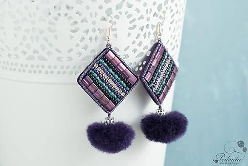 Purple Mink - vyšívané náušnice O.O.A.K.