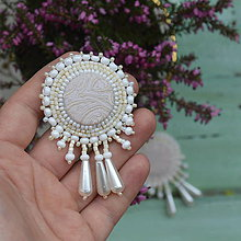 Náušnice - Wedding Earrings- vyšívané náušnice - 7965857_