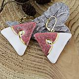 Náušnice - bielo-ružové náušnice - 7967299_