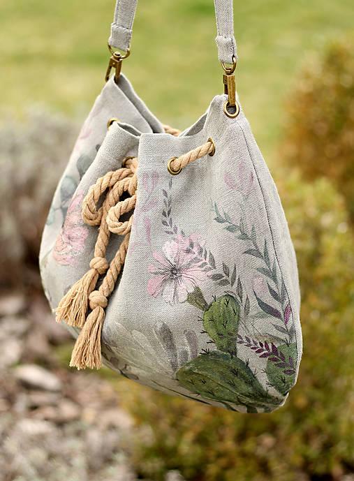 Kabelky - Ručne maľovaná veľká kabelka z francúzskeho ľanu