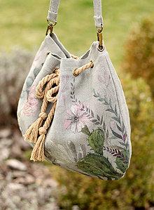 Kabelky - Ručne maľovaná veľká kabelka z francúzskeho ľanu \