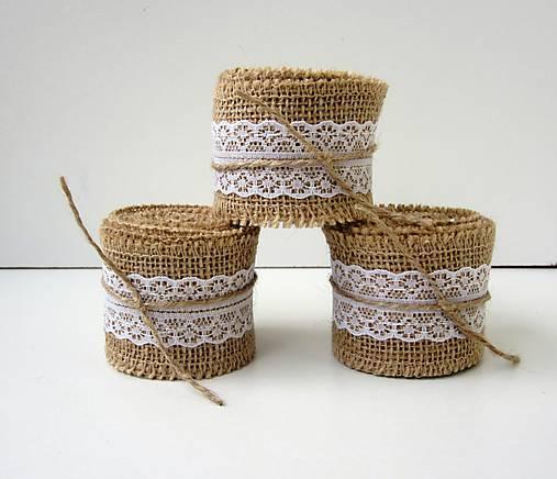 Jutová stuha s čipkou- balenie 2 m