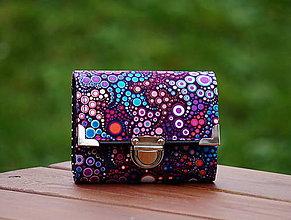 Peňaženky - Peněženka fialové bublinky, 8 karet, na fotky - 7964798_