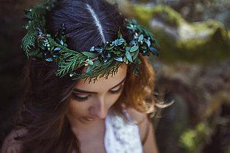 Ozdoby do vlasov - Prírodný greenery venček