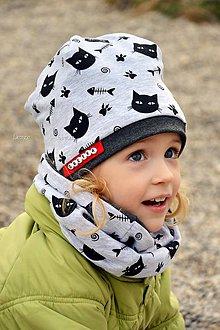 Detské súpravy - Bavlnený set s menom Cats & antracit - 7964187_