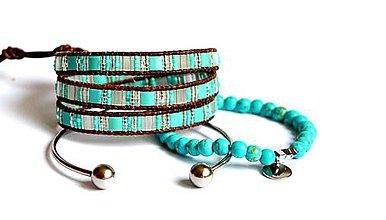 Sady šperkov - Sada BRYXI náramkov z korálok a ocele v hnedej koži - 7966618_