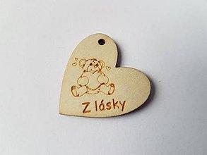 Komponenty - Drevený gravírovaný prívesok srdiečko medvedík Z LÁSKY - 7967205_